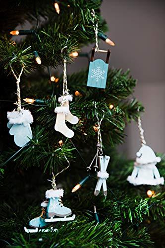 HEITMANN DECO Christbaum-Schmuck - Behang Set aus Holz - 6-teilig - Baumbehang in modischer Farbe - Petrol - Weihnachtsdeko