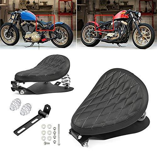 Amazicha 3' Black Driver Solo Seat Chrome Spiral Springs Bracket Base Plate Pan Mounting Kit Compatible for Harley Honda Yamaha Kawasaki Suzuki Sportster Bobber Chopper