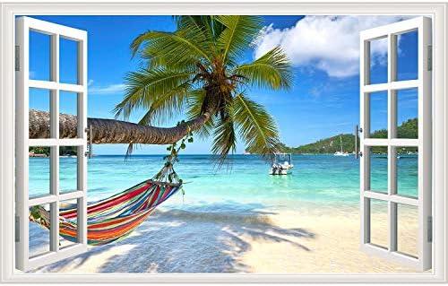 Rajahubri Beach Seascape Window Wall Sticker Palm Tree and Hammock Fake Window Wall Decals Removable product image