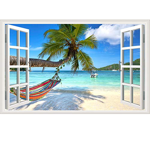 Rajahubri Beach Seascape Window Wall Sticker Palm Tree and Hammock Fake Window Wall Decals Removable Tropical Sea Window View Wall Stickers Decal for Living Room
