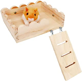 Tfwadmx Hamster Climbing Ladder, Small Animal Play Exercise Wooden Platform Chew Toy for Guinea Pig Chinchilla Rat Gerbil
