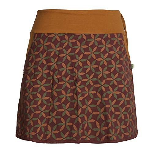 Vishes - Alternative Bekleidung - Damen Baumwoll-Rock, 70er Jahre Retro Facetten, Blumen-Druck, Taschen dunkelrot 36
