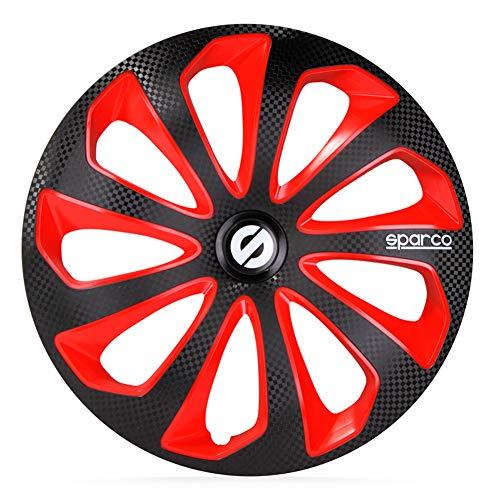 SPARCO SP 1675BKRDC Jeu d'enjoliveurs Sicilia 16-inch Noir/Rouge/carboné