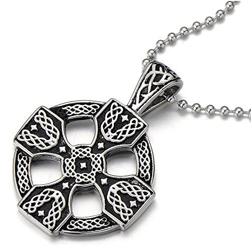 COOLSTEELANDBEYOND Keltisches Kreuz-Anhänger Edelstahlkette für Herren Damen Silber Schwarz Zwei Töne mit 60cm Stahl Kugelkette