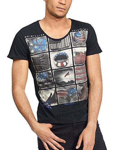 trueprodigy Casual Marca Camiseta para Hombre con impresión Estampada Ropa Retro Vintage Rock Vestir Moda Cuello Redondo Manga Corta Slim fit Designer Fashion t-Shirt, Colores:Black, Tamaño:M