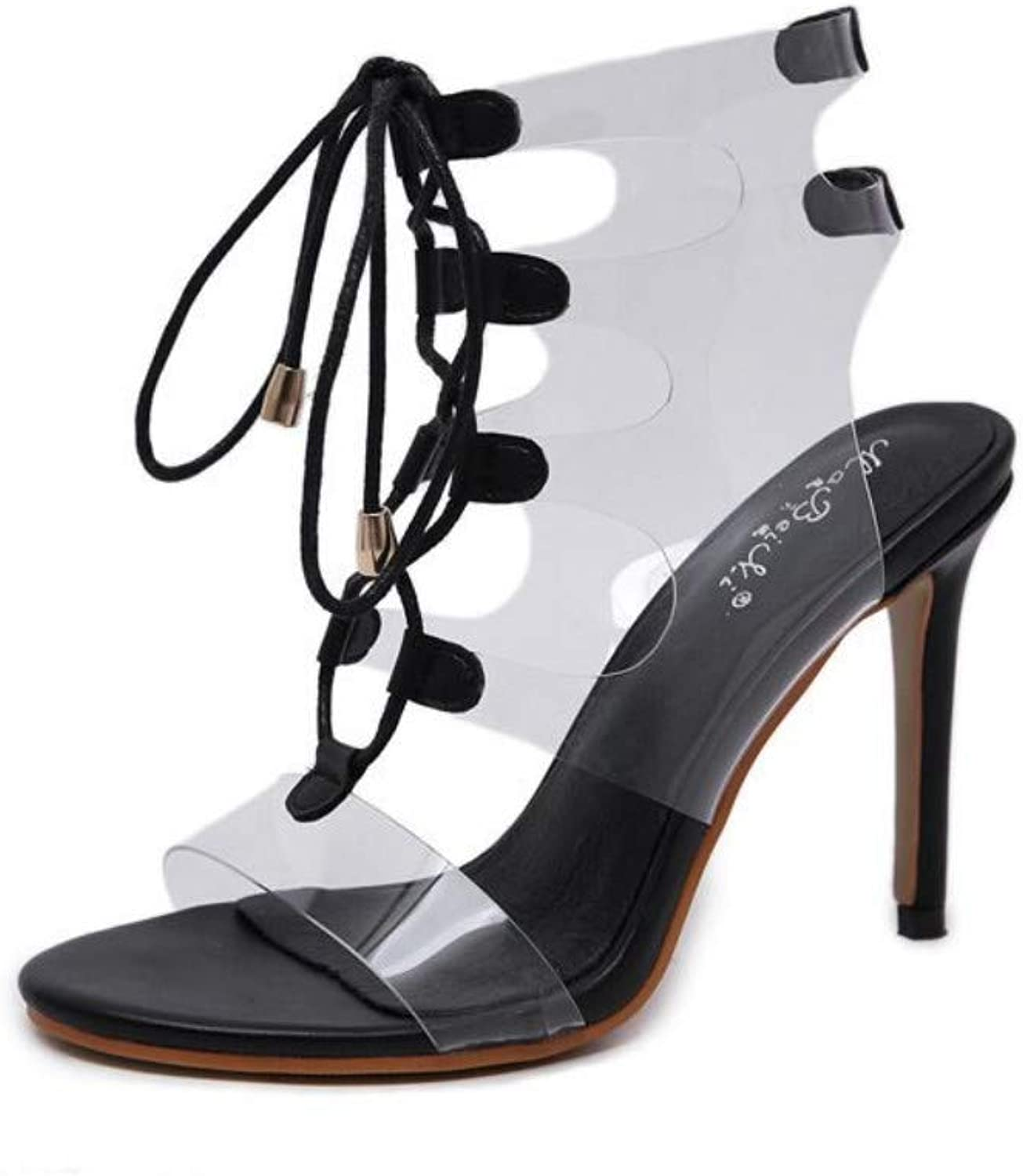 JQfashion Ladies'High Heels Transparent Hollow-Out Sexy High-Heeled Sandals Laced with Pointed Thin-Heeled Roman shoes