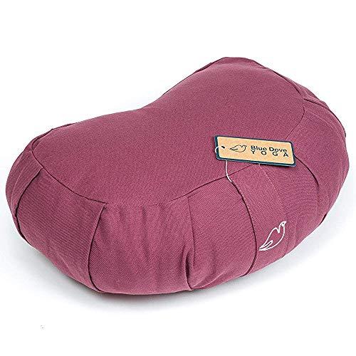 Blue Dove Yoga Crescent Zafu GOTS Certified Organic Cotton Meditation Cushion Aubergine
