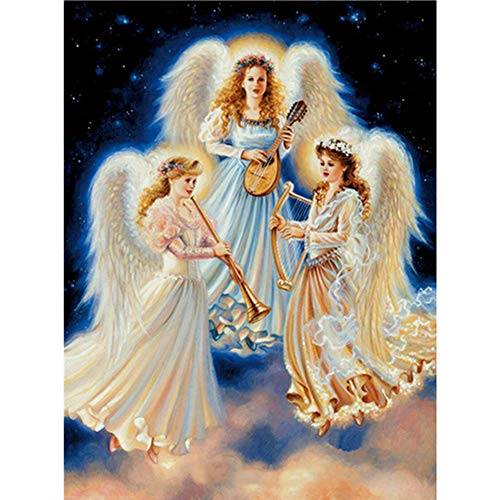 DIY 5D Diamant Painting Malerei von Number Kit 3 Engel Diamanten Kunst Voll Set Strass Diamond Paintings Puzzles Stickereien Kunst Cross Craft Leinwand Malerei Kit Wandtattoos 30X40CM