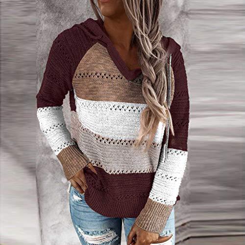 DNOQN Mode Frauen Beiläufig Patchwork V-Ausschnitt Langarm Kapuzenpullover Bluse Tops