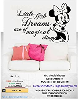 Minnie Mouse Wall Decals Quote Little Girls Dreams Are Of Magical Things  Decal Sticker Kids Girl