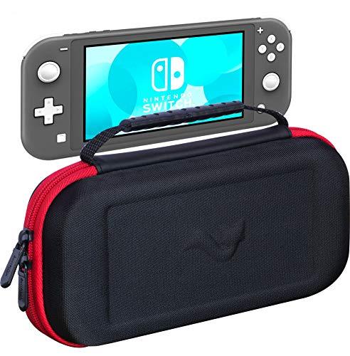 ButterFox Slim Compact Tragetasche für Nintendo Switch Lite mit 19 Spielen und 2 Micro-SD-Kartenfächern, Aufbewahrungsfach für Switch Lite Zubehör rot/schwarz Slim