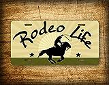 Fhdang Decor Rodeo Life Nummernschild Cowboy Barrel Racing Lasso Roper Auto Tag Cowgirl Pferd Rodeo Schild