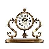 FMOGE Reloj De Sobremesa con Péndulo Reloj De Chimenea Chapado En Cobre Reloj De Escritorio Retro Silencio Escritorio con Pilas, Regalo De Decoración Hogar (Color: Latón)