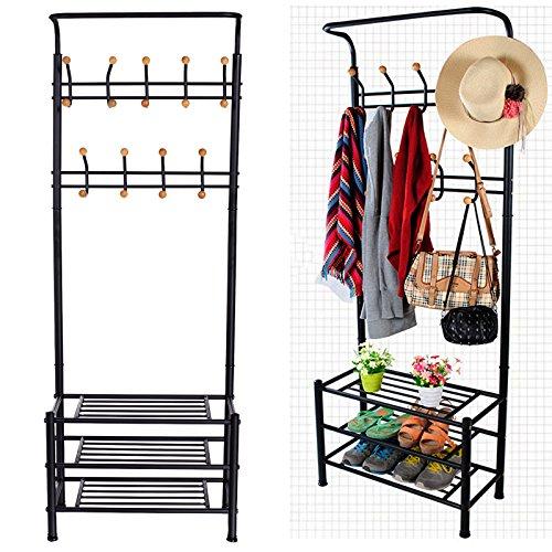 Entryway Multi-purpos Metal Garment Hat Coat Hanger Clothes Rack Shoe Shelf Organizer