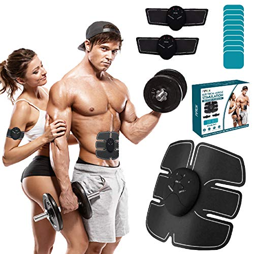 PIPROX Professional EMS Technology Muscle Stimulator Waist Trainer Home Abdominal Exercise with 10 Replacement Gel Pads for Abdomen Arm Legs