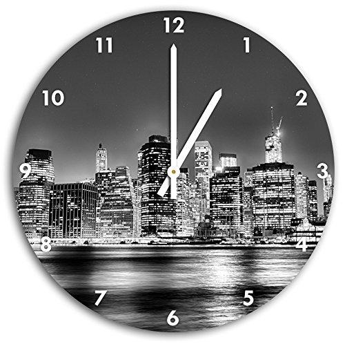 Stil.Zeit Monocrome, New York City, Wanduhr Durchmesser 30cm mit weißen Spitzen Zeigern und Ziffernblatt, Dekoartikel, Designuhr, Aluverbund sehr schön für Wohnzimmer, Kinderzimmer, Arbeitszimmer