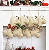Beyond Your Thoughts New Linen Dog Bone Christmas Stockings for Pet Jute Natural Burlap Holidays-16 inches x 8 inches 1# Red Bowknot (1 Pack)
