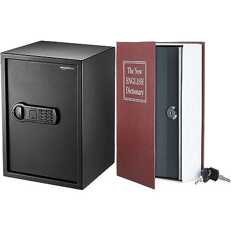 Amazon Basics Coffre-fort pour domicile, 50 l & Coffre-fort en forme de livre - Système de verrouillage à clé, Rouge