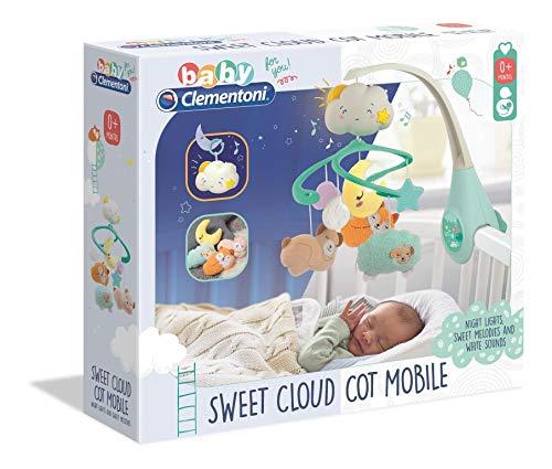 Clementoni Sweet Cloud-Mobile Musical pour Berceau de bébés avec Peluches, 0 Mois et Plus, 17279, Multicolore