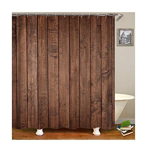 AmDxD Duschvorhang aus Polyester  3D-Druck Holzbrett Muster Design Badewanne Vorhang Badewannenvorhang   Braun   mit 12 Duschvorhangringen für Badewanne Badezimmer - 120x180CM
