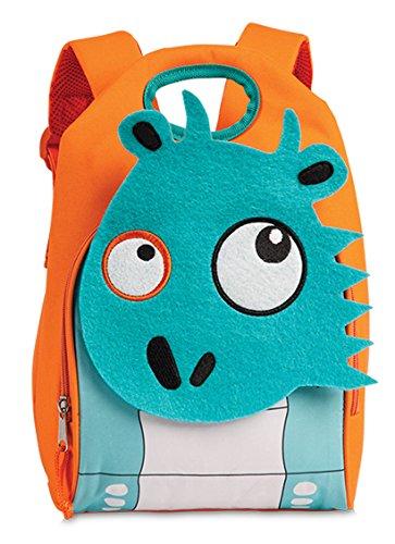 Kinderrucksack Kindergarten Tasche ca. 21 x 33 x 16,5 cm Kinder Rucksack Orange mit süßem 3D Filz-Tier Drache Blau