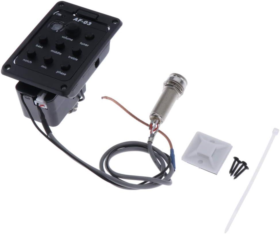 Sharplace Sintonizador de Guitarra Acústica Ecualizador Ecualizador de 5 Bandas para Pastillas de Guitarra - Estilo 1 Negro