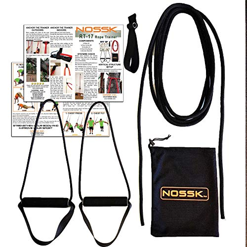 NOSSK RT-17 Rope Bodyweight Fitness Trainer (Black), Manufactured in The USA, for Indoors and Outdoors - for All Ages and Fitness Levels