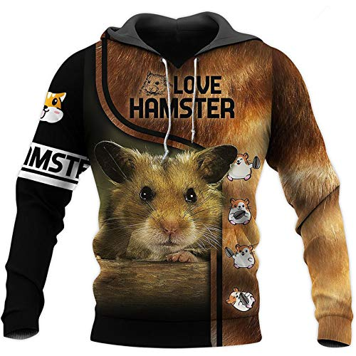 Cute Hamster 3D All Over Printed Hoodies Otoño Casual Sudadera Unisex Hip Hop Harajuku Zip Chaquetas Beige S