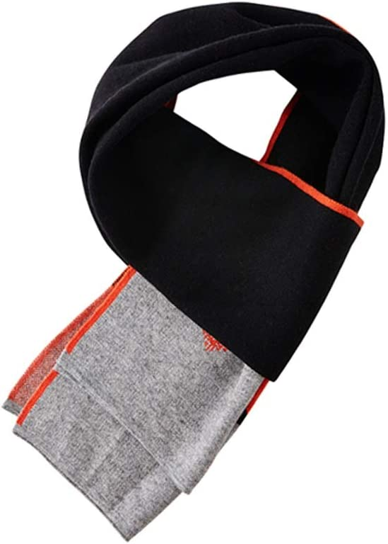 ZANZAN Cold Weather Scarves Men's Winter Scarves, Striped Warm and Soft Scarves Thick Winter Luxury Scarves are The Best Gifts for Men and Women Decorative Scarf (Color : Black+Orange)