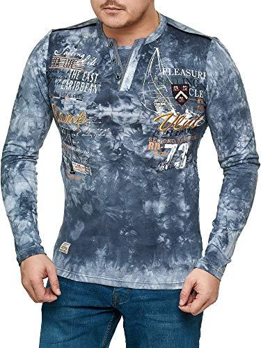 Violento Herren verwaschen Longshirt | Camp Vlnt Design 855 (XL, Grau 855)