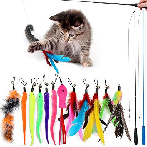 Interaktives Katzenspielzeug Feder, 2 Skalierbar Stangen 14 Stück Federspielzeug für Katzen, Cat Toys Katzenangel mit Federn, Attraktive Katzenangel Stabil für Katzen Kätzchen, Spielen mit und Beißen