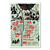 Hunnry Twin Peaks Map Poster Metall Blechschilder Retro