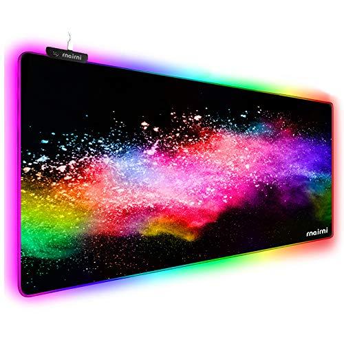 Erweitertes RGB-Gaming-Mauspad, extra großes Gaming-Mauspad für Gamer, wasserdichte Büro-Matte mit 10 Beleuchtungsmodi, für PC, Computer, RGB-Tastatur, Maus, 80 x 30 x 4 mm