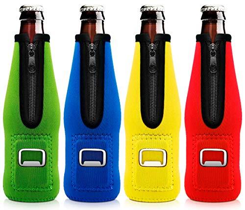 Aymaloy Beer Bottle Coolers (Pack of 4), Beer Bottle Holders to Keep Cold With Zipper Insulated Beer Cooler Neoprene Bottle Cooler