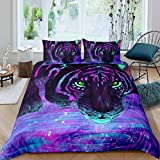 Feelyou Tiger Bedding Set Queen Size for Boys Men 3D Animal Print Comforter Cover Wildlife Duvet Cover Set with 2 Pillow Shams Luxury Galaxy Bedspread Cover Purple Microfiber Quilt Cover Zipper Soft