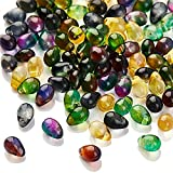 AHANDMAKER Teardrops Glass Pendants, 100 Pcs 4 x 6mm Teardrop Mixed Color Glass Beads with 1mm Hole for DIY Necklace Earrings Jewelry Making