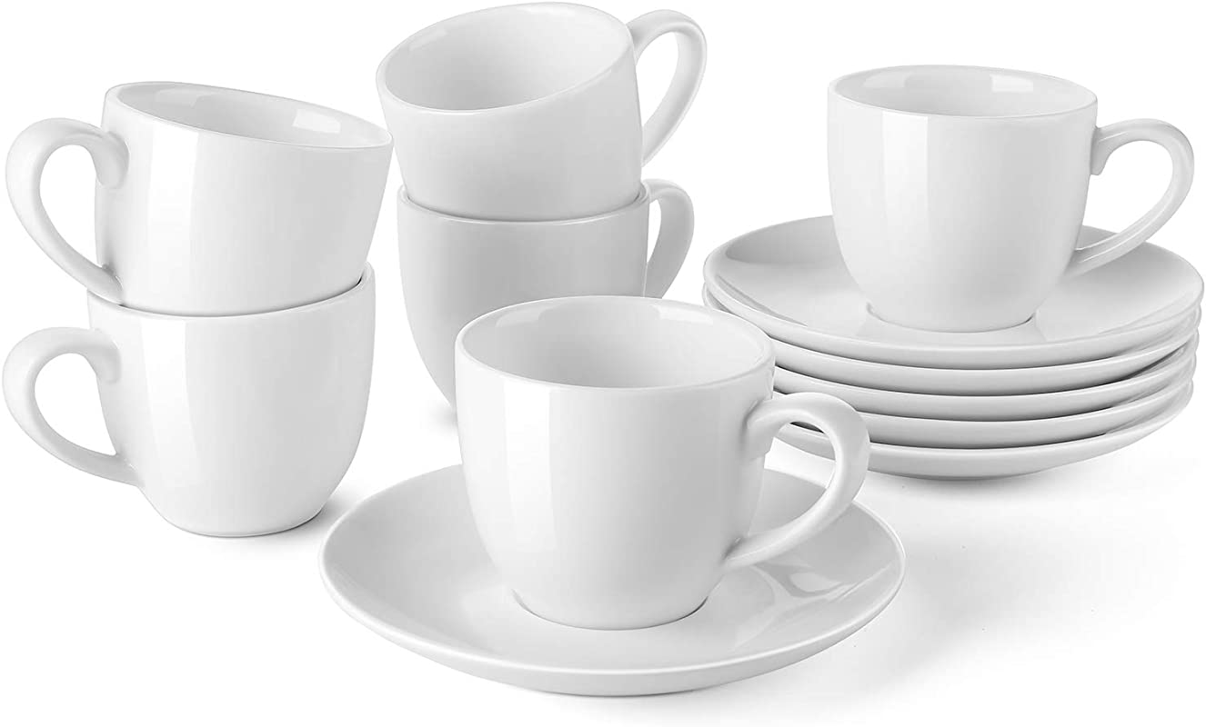 LIFVER Porcelain Espresso Cups With Saucers 3 5 Ounce Demitasse Cups Perfect For Espresso Cappuccino Latte Cafe Mocha Set Of 6 White