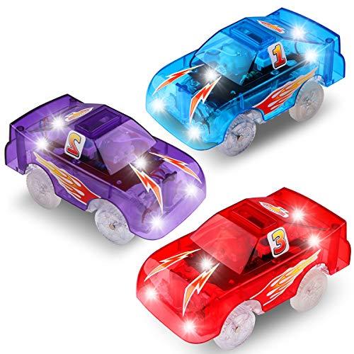 PROACC 3 Pezzi Track Cars Trasparente Auto Giocattolo per Bambini Pista Macchinine Auto Luminose per Magic Tracks Bagliore nel Buio Traccia per Ragazzo Ragazza