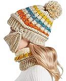 Nanxson 3 Piezas Conjunto de Gorros y Mascarilla Facial para Mujer Gorro de Lana Calentar Sombrero para Invierno MZW0162 (Beige)