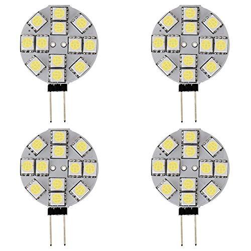 Grandview 4er G4 LED Birnen, Kaltweiß 2W G4 Bi-Pin Sockellampe 12-5050-SMD DC 12V Nicht Dimmbarer Ersatz für Landscape Under Cabinet Lighting 7500K