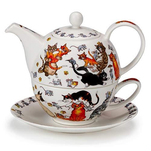 DUNOON Commical Pussy Galore Katze Kätzchen Fine Bone China Tee für eine Teekanne Tasse Untertasse Set