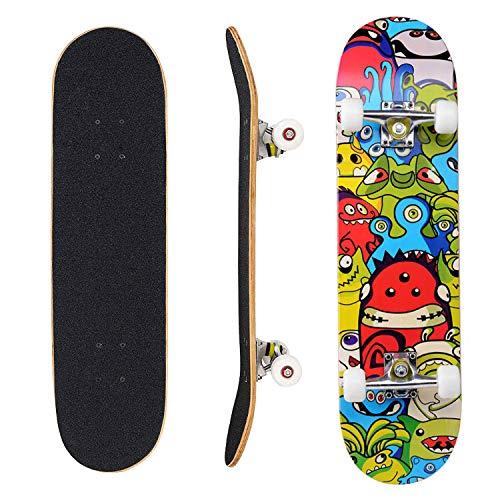 Eseewin Skateboard 7 Layers Decks 31'x 8' PRO Skateboard Completo in Legno d'Acero Longboard per Adolescenti Adulti Principianti Ragazzi Ragazze Bambini (Stardust)