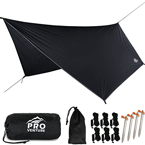 Pro Venture [12ft Hex] Waterproof Hammock Rain Fly - Portable Large Rain Tarp - Premium Lightweight Ripstop Nylon - Fast Set Up - Hammock Camping Essential! 12ft by 9ft HEX Shape