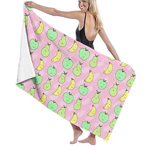 GSEGSEG Strandtücher mit Bananen-Apfel-/Birnen-Muster, Polyester, schnelltrocknend, weich, für den Sommer, kühl, Camping, große Badetücher für Yogamatte, Stranddecke, Decke, 80 x 130 cm