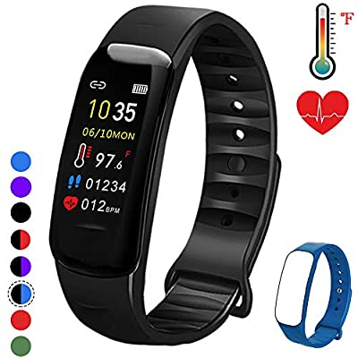 Fitness Tracker with Oxygen Monitor,Activity Tracker Watch with Body Temperature Blood Pressure Heart Rate Monitor,Smart Watch with Steps Watch, Pedometer Watch for Kids Women Men (Black+Blue)