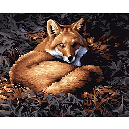 Diy pintura al óleo por número kit Fox en el sofá Kit de Pintura por Números para Adultos Niños Principiantes 40cm x 50cm (sin marco)
