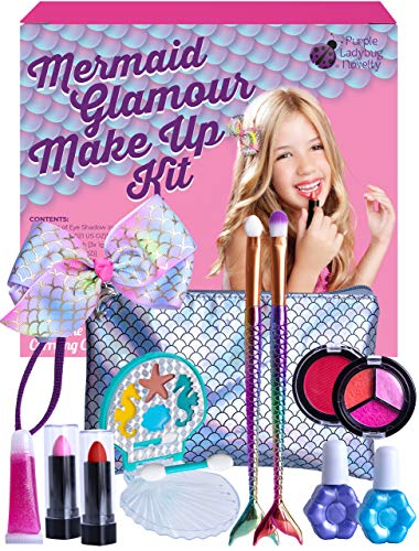Purple Ladybug Mermaid Makeup Kit for Girls - Safe and Washable Mermaid Themed Makeup Set for Little Girls with a Handy Wristlet, Lipstick, Blush, Eye Shadow, & More - Great Gift Idea for Kids & Teens