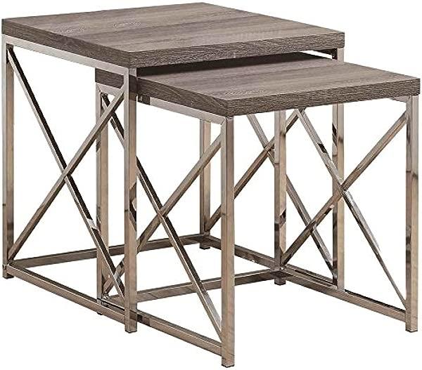 Monarch Specialties I 3255 Nesting Table Chrome Metal Dark Table Table Set 2 Pcs