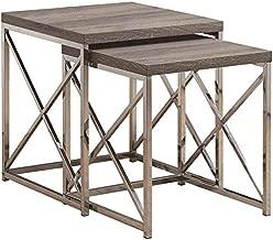 Monarch Specialties , Nesting Table, Chrome Metal, Dark Table, Table Set, 2 pcs