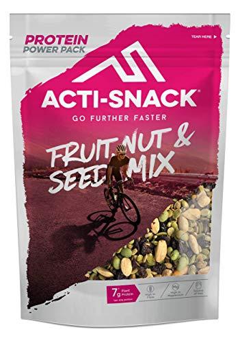 ACTI-SNACK Fruit, Nut & Seed Powerpack. Juicy Cranberries, Sour Cherries, Raisins, Roasted Almonds, Cashews, Edamame, Pumpkin & Sunflower Seeds. High in Plant Protein. Vegan. 12 x 200g